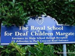 Blue sign at the entrance to the Royal School for Deaf Children in Margate, which was closed despite efforts to save it.