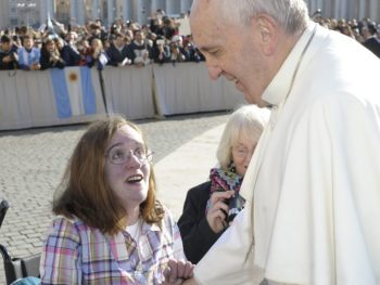Corinne Barber getting a blessing from Pope Francis on a trip to the Vatican paid for by a fundraising campaign (Image: PA)