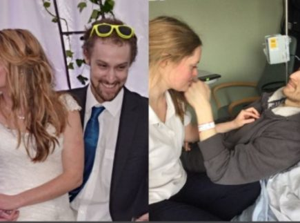 Photo of cancer patient Mike with his wife at their wedding (left) and at his hospital bed during treatment (right).
