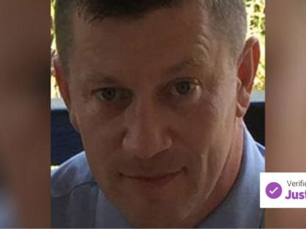 Headshot of PC Keith Palmer with a verified by JustGiving badge taken from a fundraising page for his family.