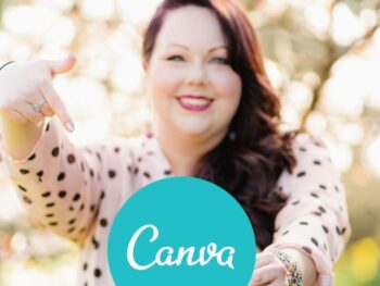 Kate from Cherry Blossom Management standing in front of a cherry blossom tree with a polka dot shirt and pointing to the Canva logo