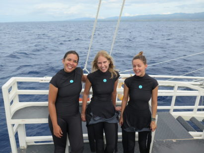 Melissa, Sam and Jula from Reef-World on a boat about to go diving