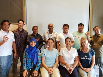 Photo of Melissa and the Green Fins Indonesia team during an assessor training programme in Ambon, Indonesia.