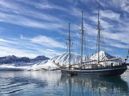 Three masted sailing ship on a polar marine life vacation in Arctic Spitsbergen. Photo by Christine Nicol.