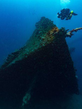Diver swimming over a shipwreck